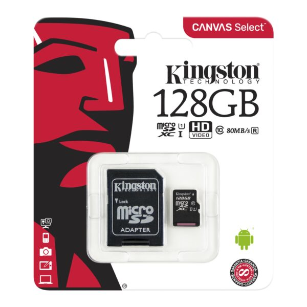 Kingston 128GB Micro SD Card With Adapter – Microsdxc UHS-1 Package