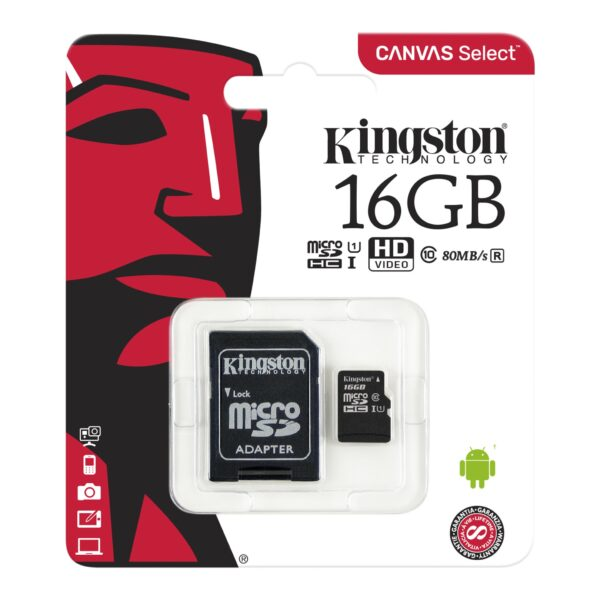 Kingston 16GB Micro SD Card With Adapter -MicroSDHC UHS-1 Package