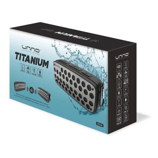 Titanium Bluetooth speaker - TWS - True Wireless Stereo Splash Proof - Black Package
