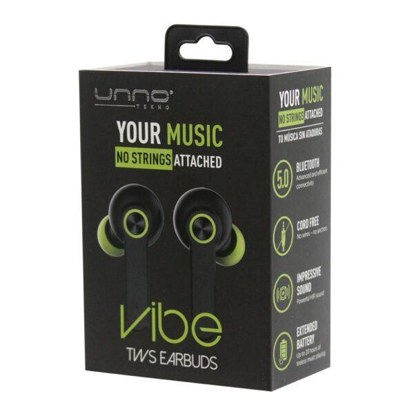 VIBE TWS True Wireless Stereo WIRELESS EARBUDS Black Package