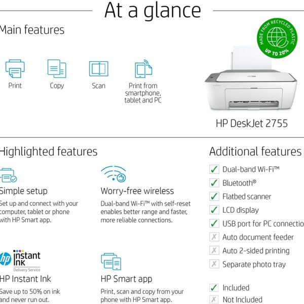 HP DeskJet 2755 Wireless All in One Printer 5