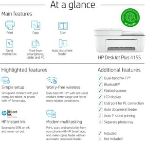 HP DeskJet 4155e All in One Wireless Color Printer 5